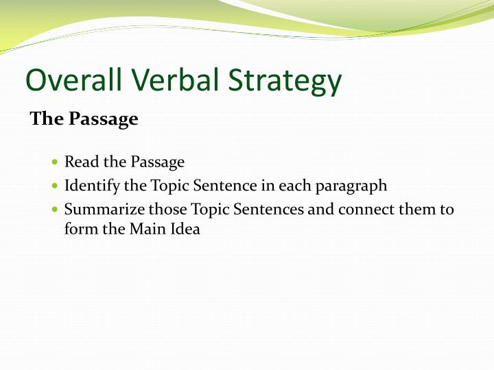 Overall Verbal Strategy
