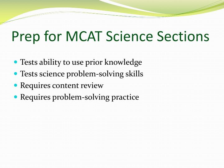Prep for MCAT Science Sections
