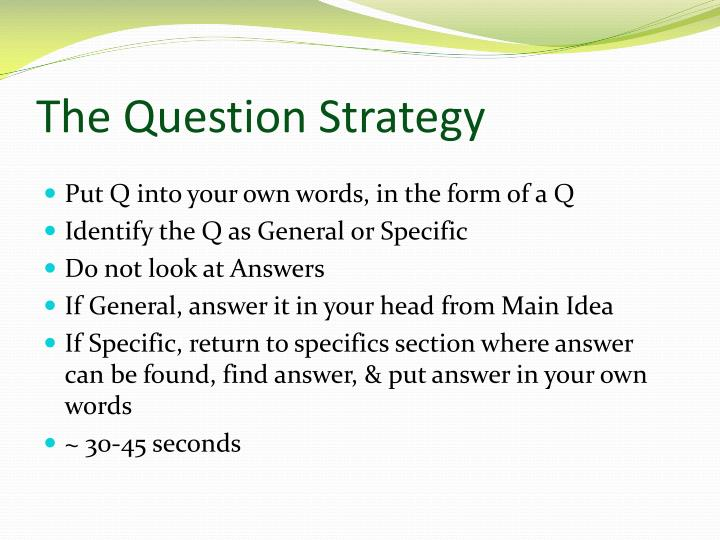 The Question Strategy