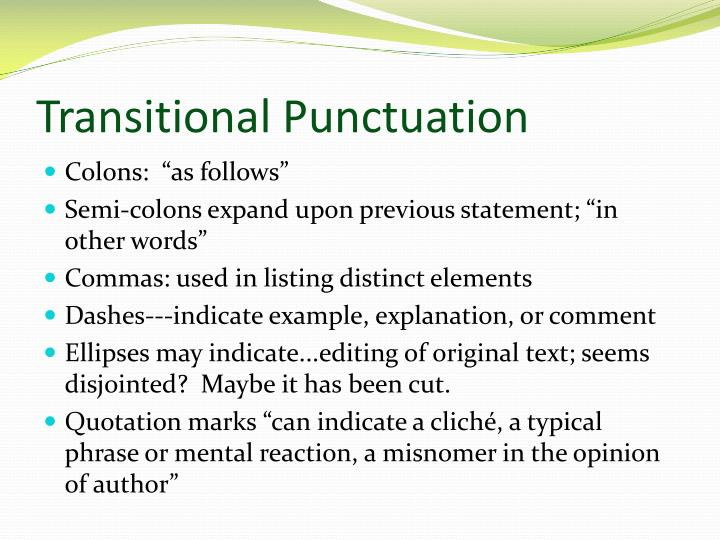 Transitional Punctuation
