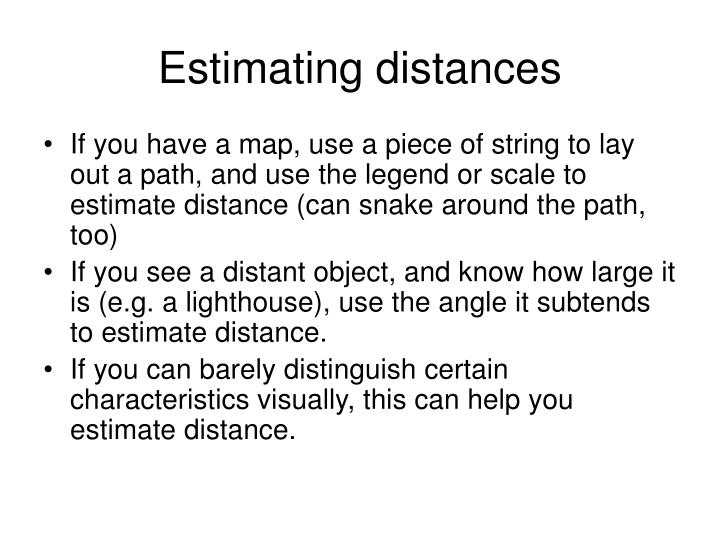 Estimating distances