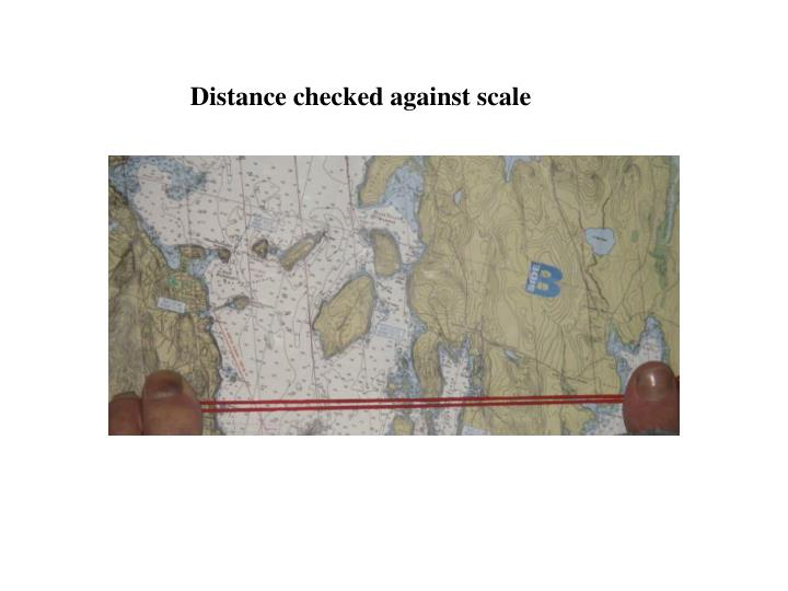 Distance checked against scale