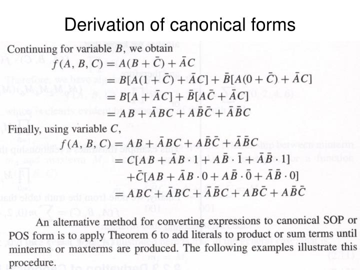 Derivation of canonical forms