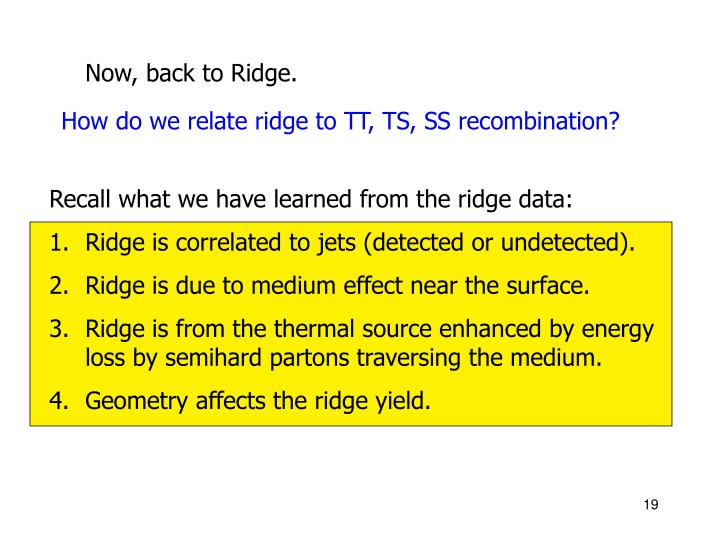 Recall what we have learned from the ridge data: