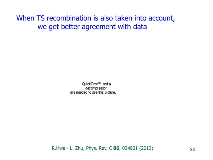 When TS recombination is also taken into account, we get better agreement with data