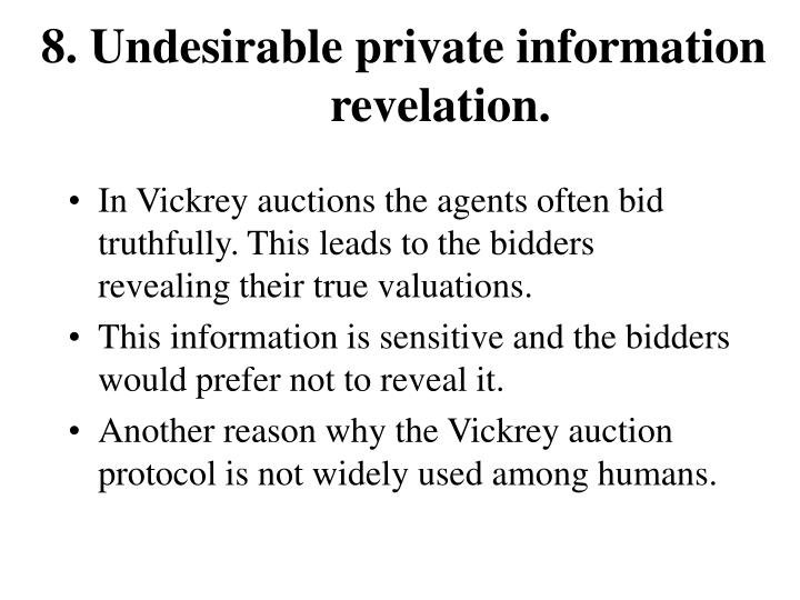 8. Undesirable private information revelation.