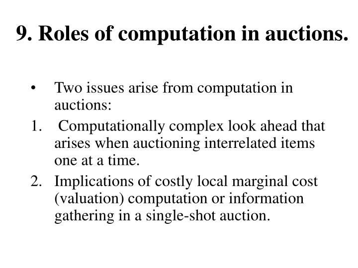 9. Roles of computation in auctions.