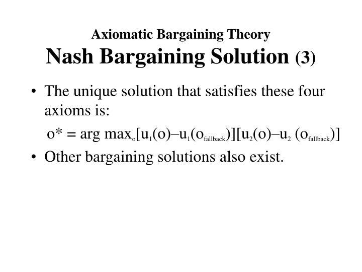 Axiomatic Bargaining Theory