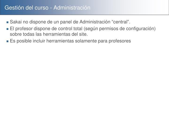 Gestión del curso - Administración