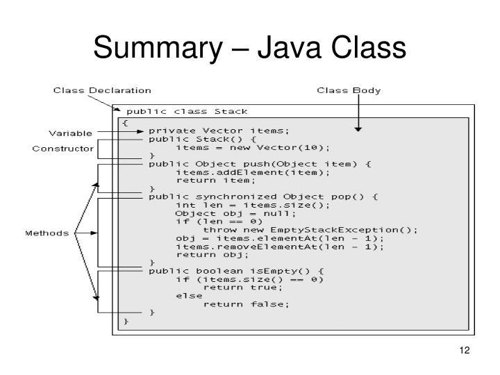 Summary – Java Class