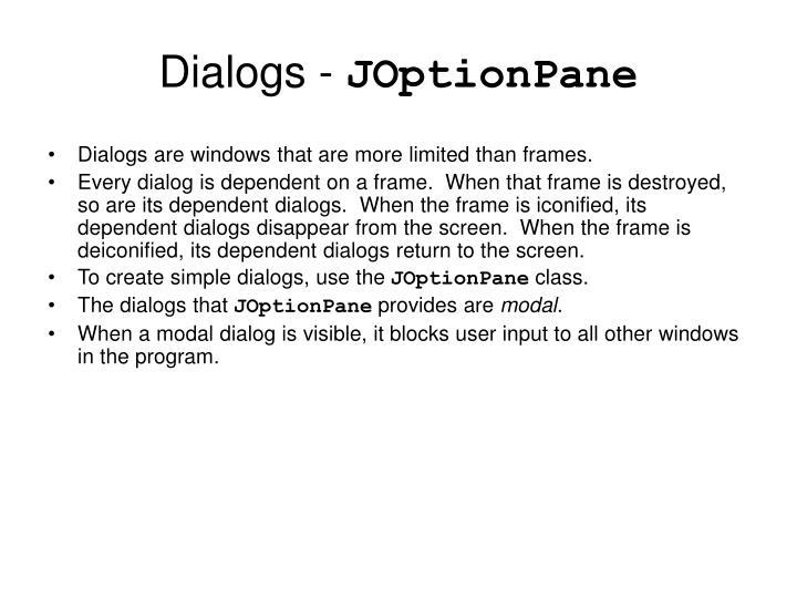 Dialogs -
