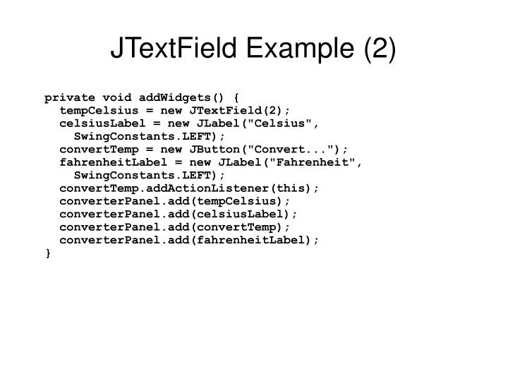 JTextField Example (2)