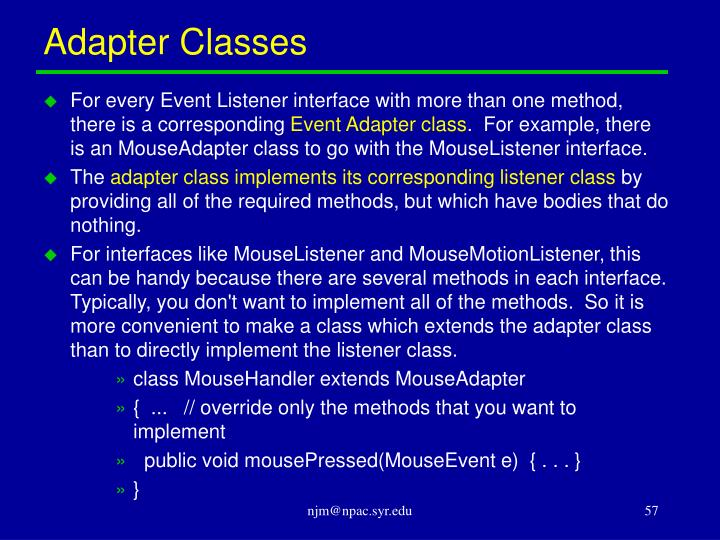 Adapter Classes
