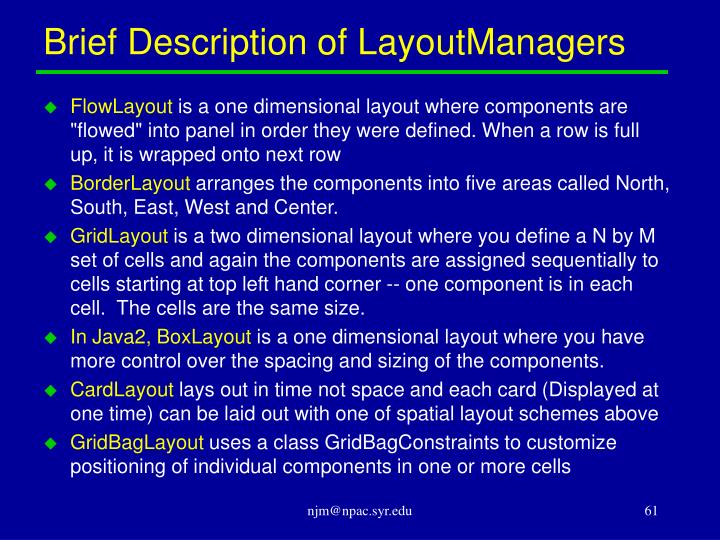 Brief Description of LayoutManagers