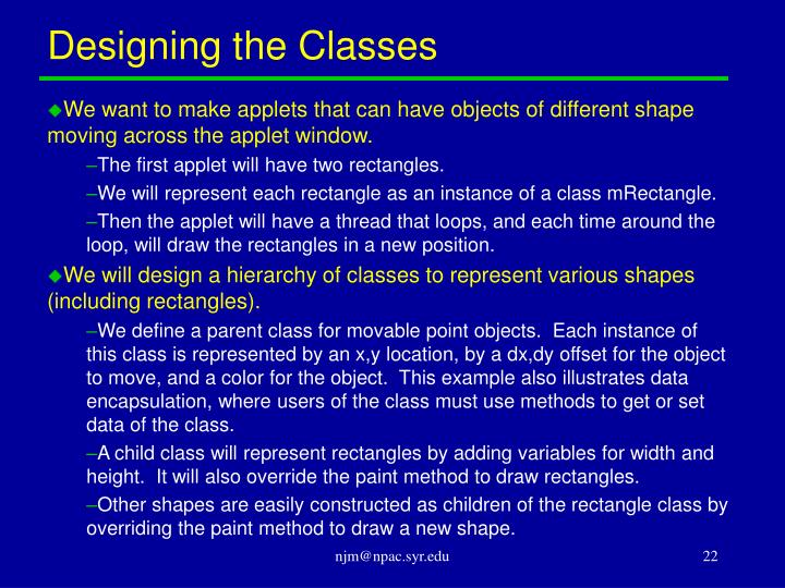 Designing the Classes