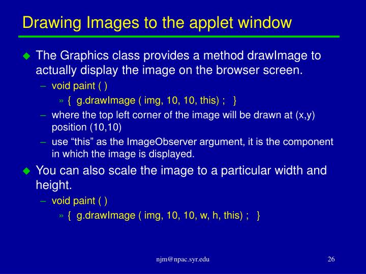 Drawing Images to the applet window
