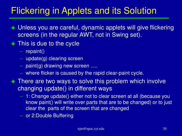 Flickering in Applets and its Solution