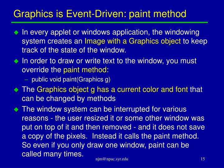 Graphics is Event-Driven: paint method