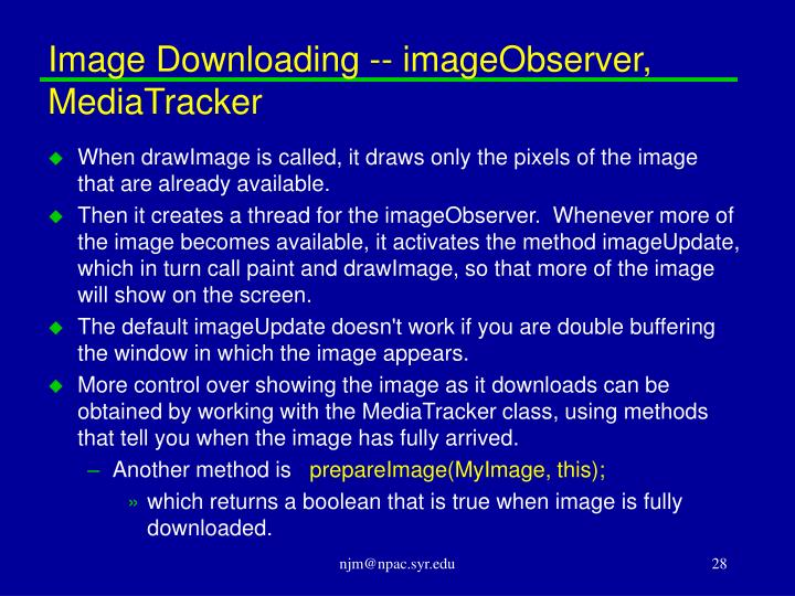 Image Downloading -- imageObserver, MediaTracker