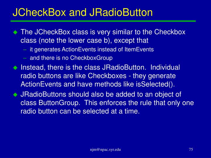 JCheckBox and JRadioButton