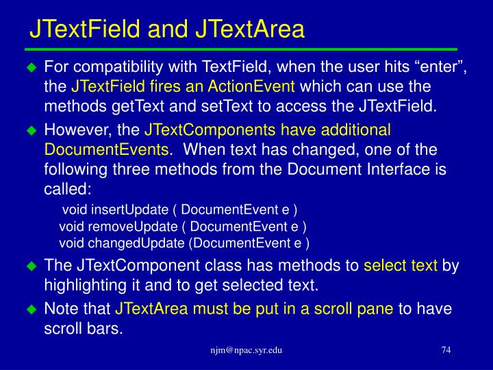 JTextField and JTextArea