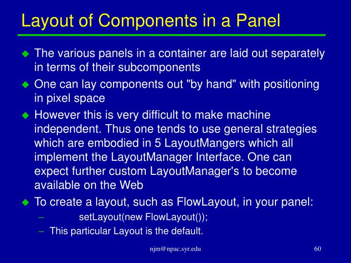 Layout of Components in a Panel