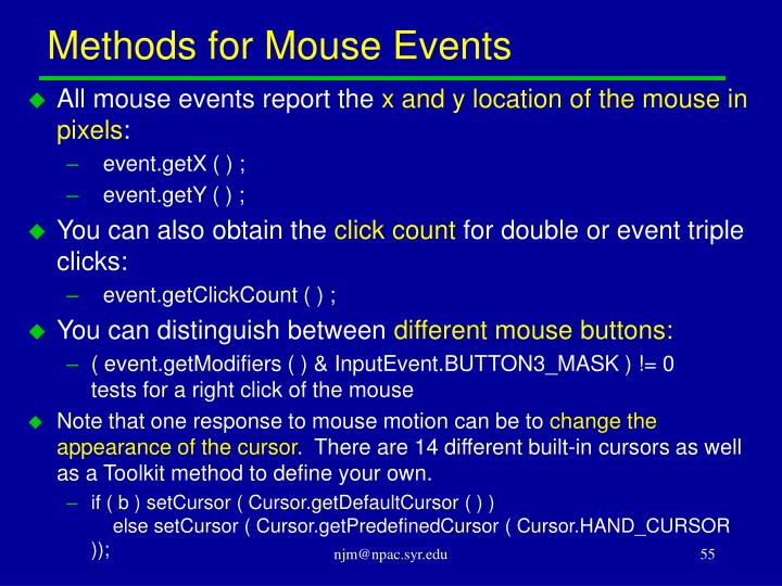Methods for Mouse Events