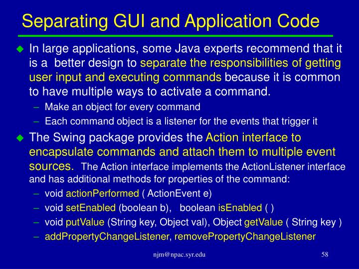 Separating GUI and Application Code
