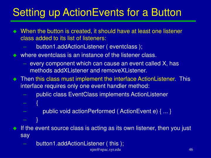 Setting up ActionEvents for a Button