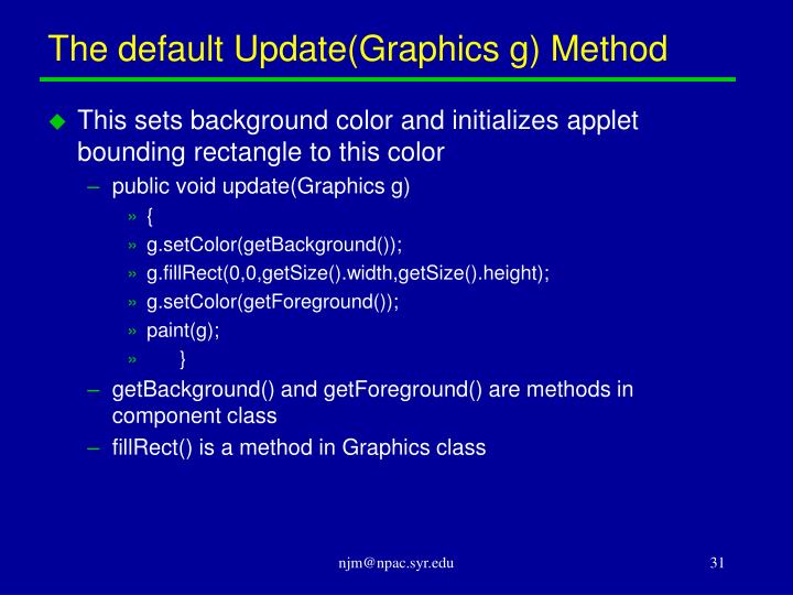 The default Update(Graphics g) Method