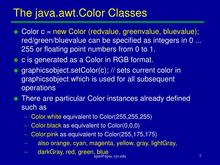 The java.awt.Color Classes