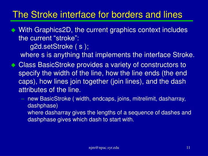 The Stroke interface for borders and lines