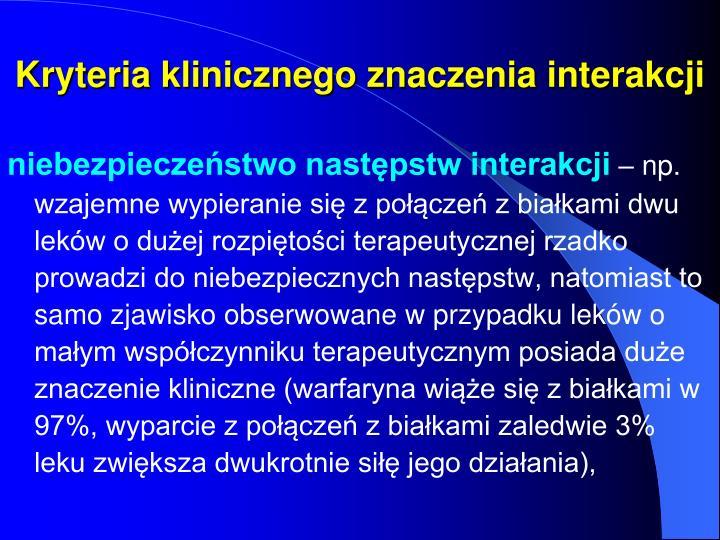 Kryteria klinicznego znaczenia interakcji