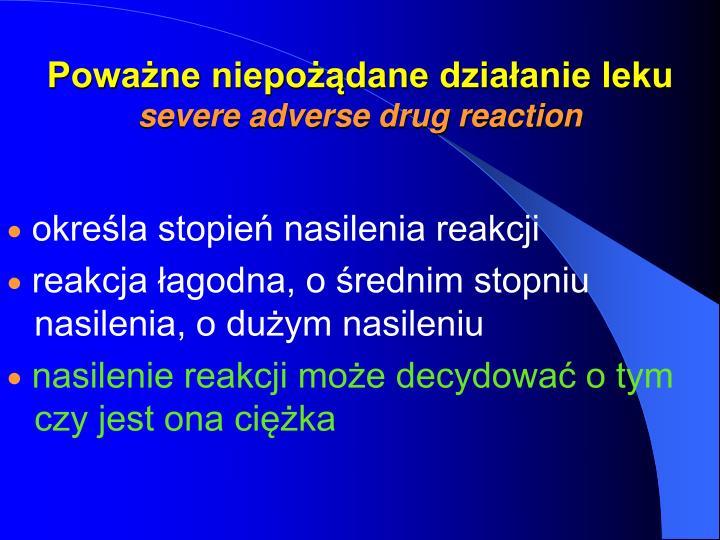 Poważne niepożądane działanie leku