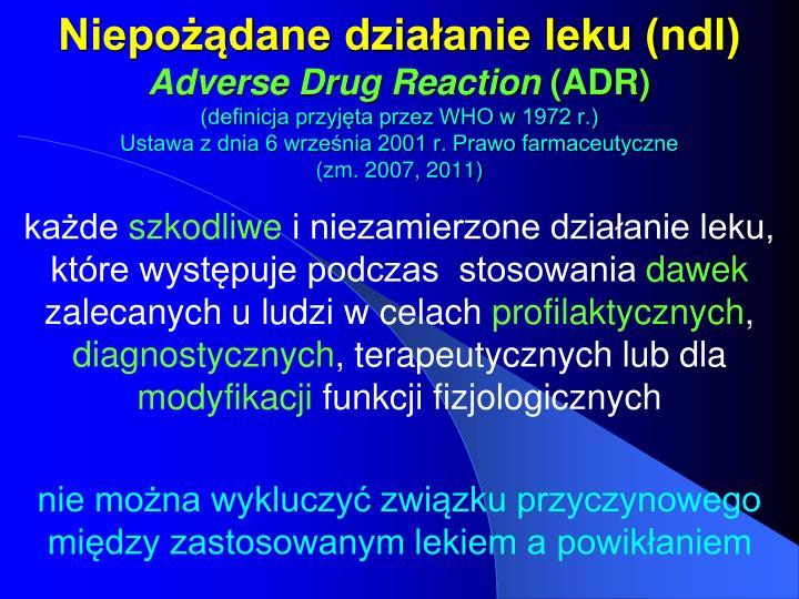 Niepożądane działanie leku (ndl)