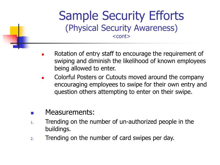 Sample Security Efforts