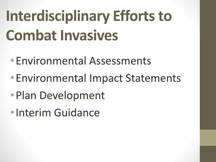 Interdisciplinary Efforts to Combat