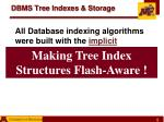 dbms tree indexes storage