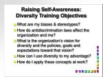 raising self awareness diversity training objectives