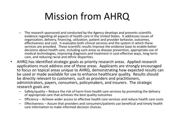 Mission from AHRQ