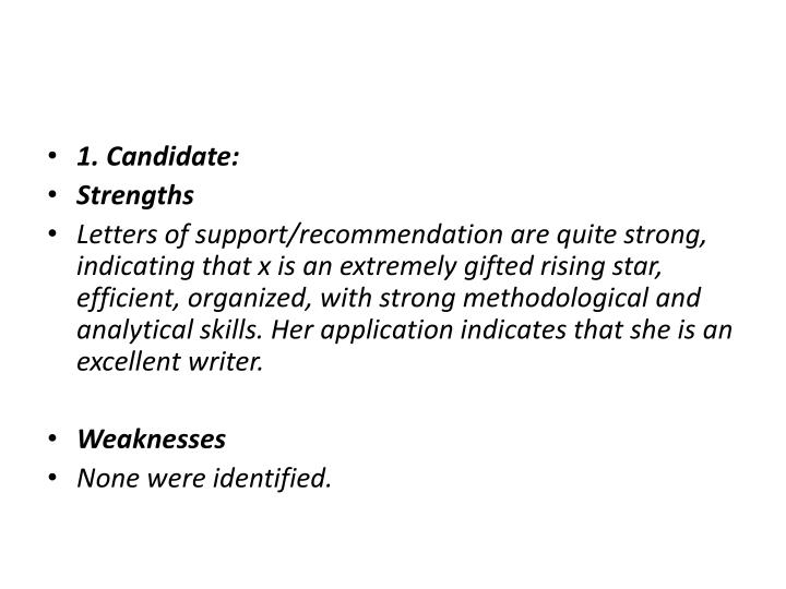 1. Candidate: