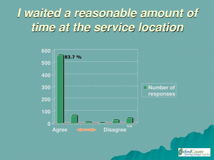 I waited a reasonable amount of time at the service location