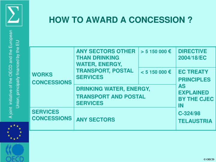 HOW TO AWARD A CONCESSION ?