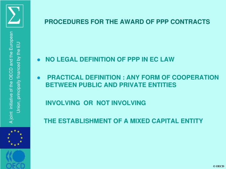 PROCEDURES FOR THE AWARD OF PPP CONTRACTS