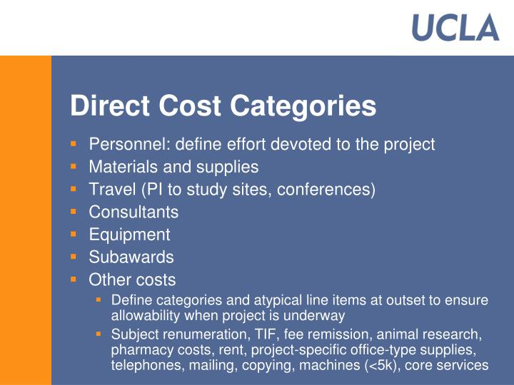 Direct Cost Categories