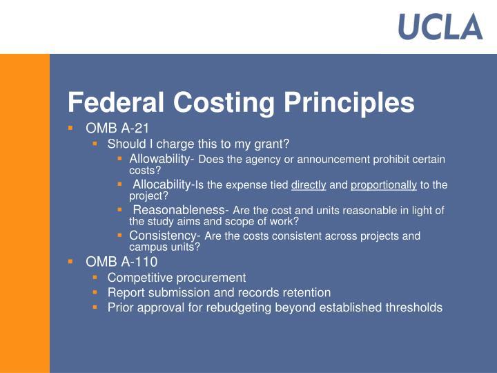 Federal Costing Principles