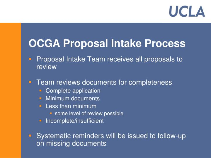 OCGA Proposal Intake Process