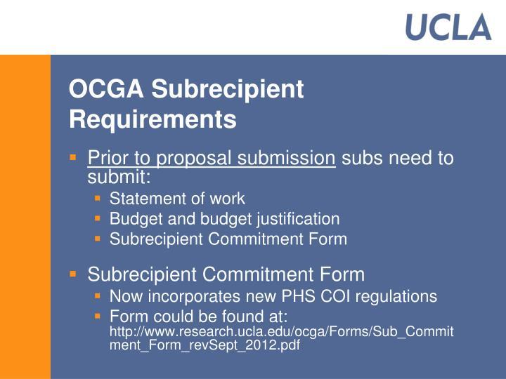 OCGA Subrecipient Requirements