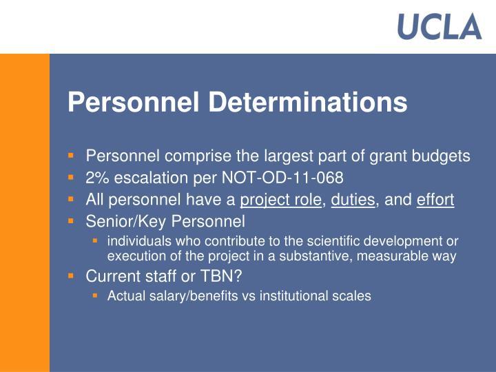 Personnel Determinations