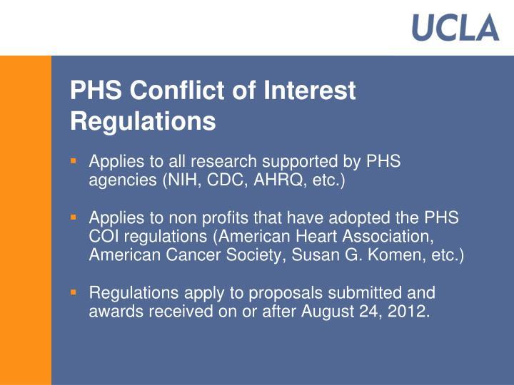 PHS Conflict of Interest  Regulations